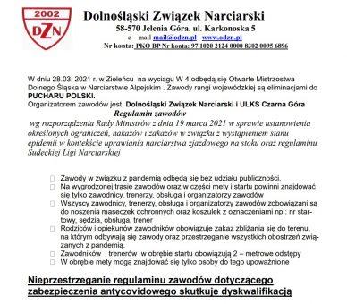 Otwarte Mistrzostwa Dolnego Śląska w Narciarstwie Alpejskim (Regulamin zawodów)
