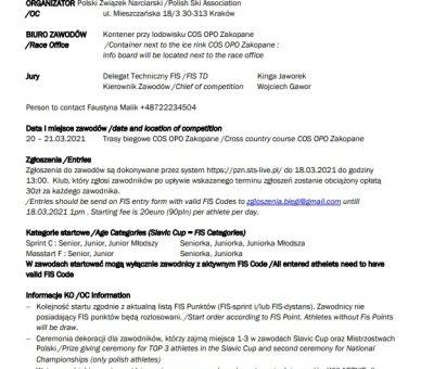 FIS Continental Cup – SLAVIC CUP Zakopane 20-21.03.2021 (Komunikat)
